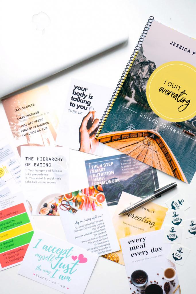 I Quit Overeating program postcards and workbook